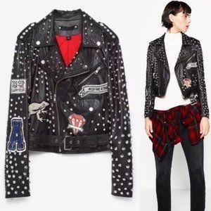 Zara Leather Studded Patch Tiger Moto Jacket Small